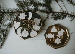 Karácsonyfadísz (szett, fehér, csipke)